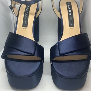 Navy Blue Satin Platform Sandals